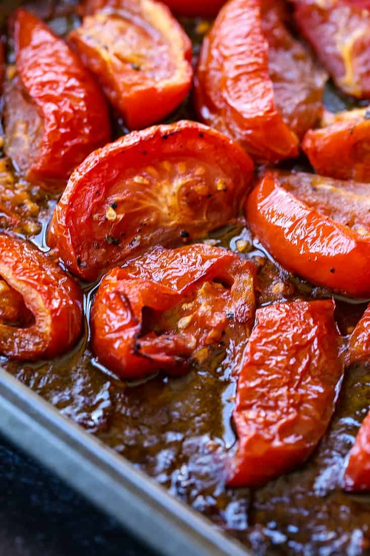 Oven roasted tomatoes for tomato basil soup recipe