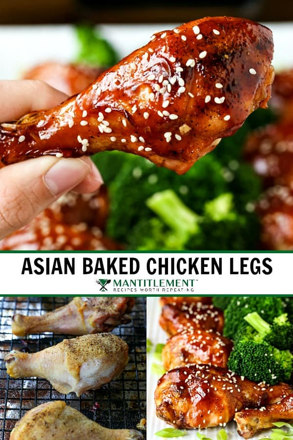 Asian Baked Chicken Legs recipe collage