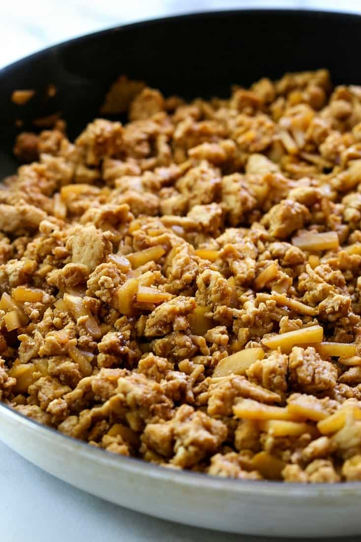 Asian flavored ground chicken filling for lettuce wraps