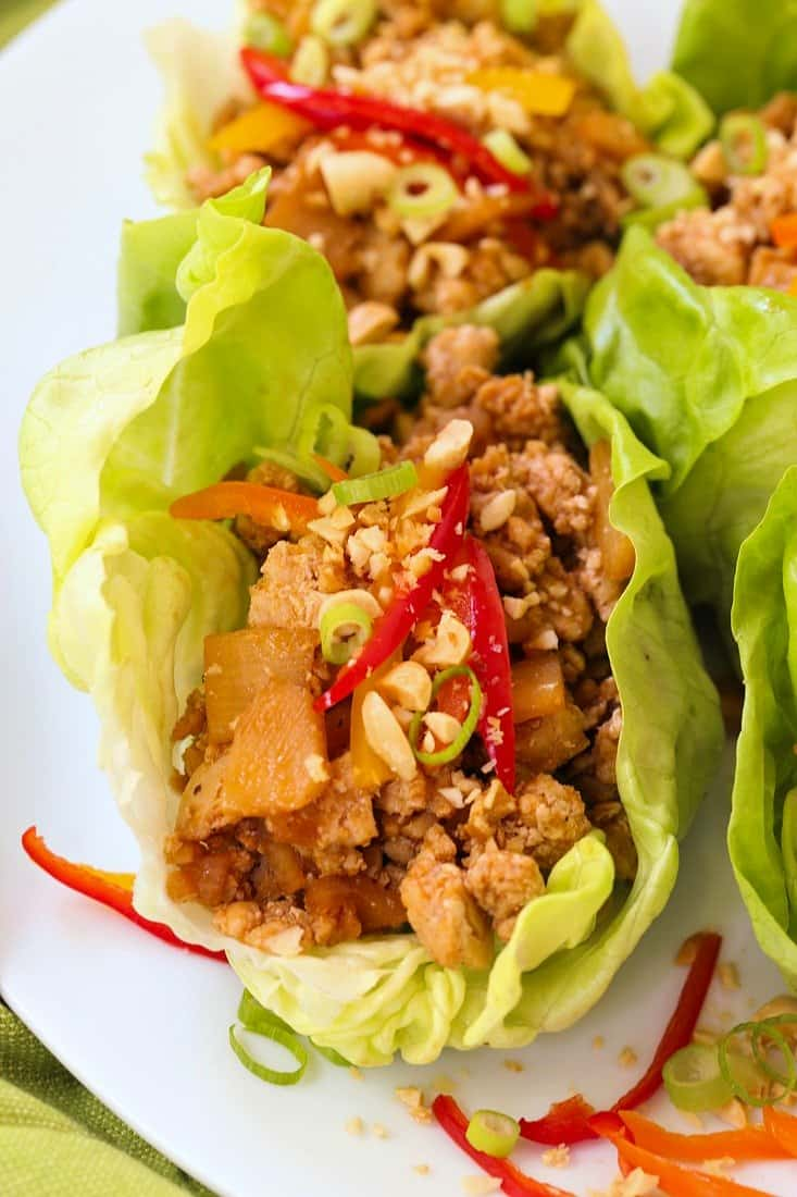 low carb chicken lettuce wraps on a plate
