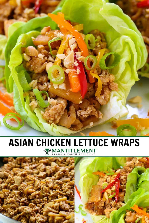 chicken lettuce wraps recipe collage for pinterest
