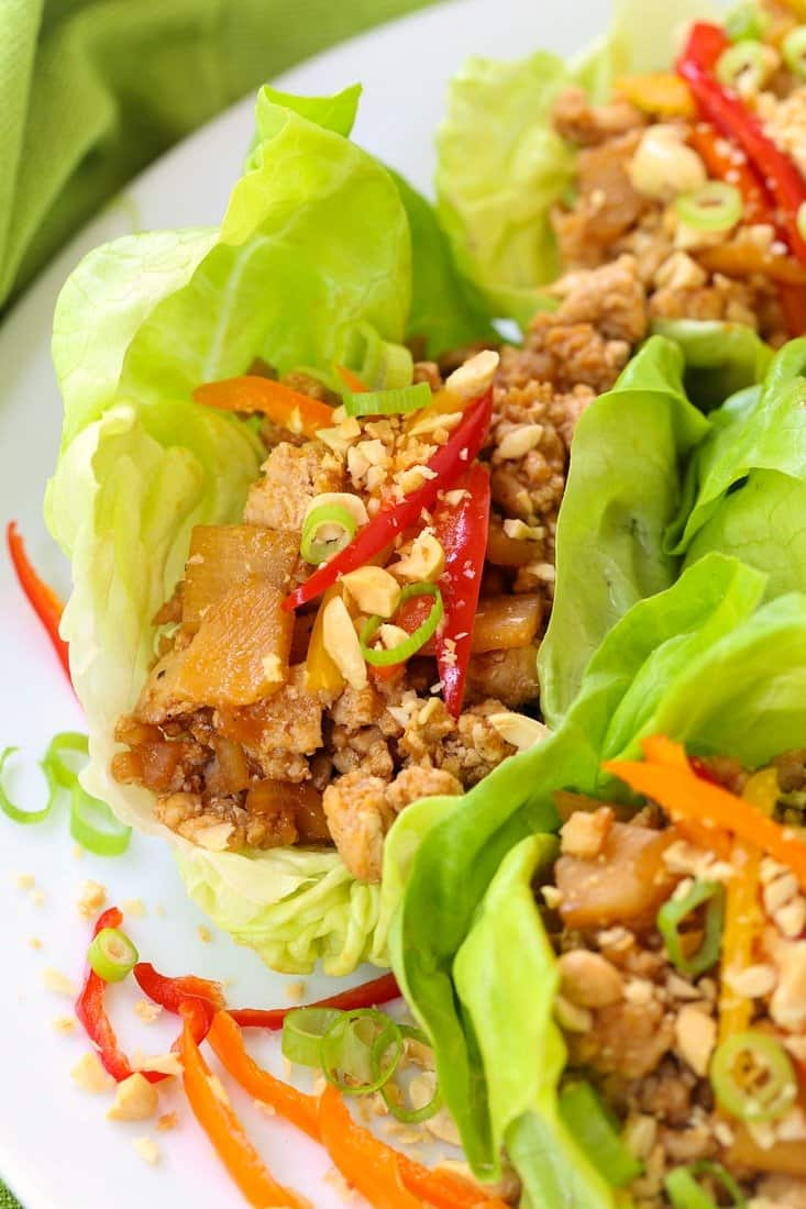 Asian Chicken Lettuce Wraps are a healthy dinner recipe