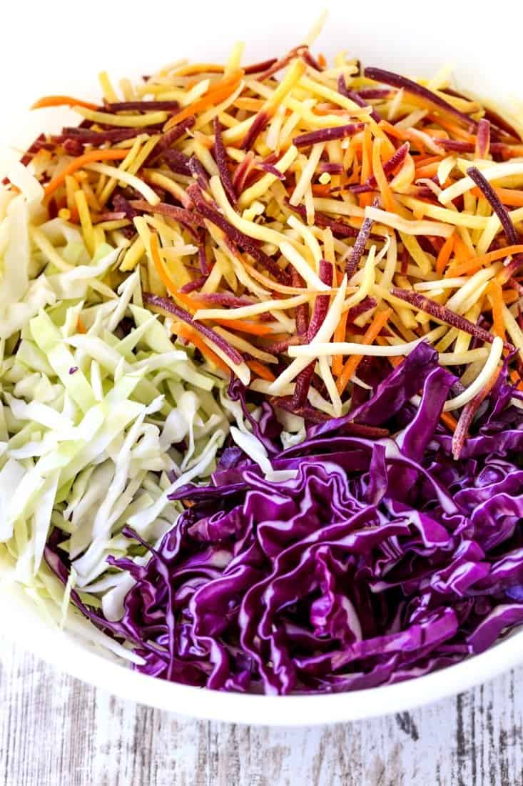 Cabbage and carrots to make a coleslaw recipe