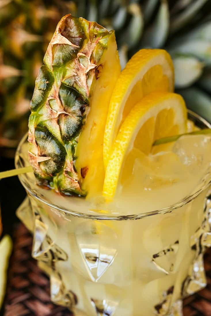 Garnish on whiskey lemonade drink