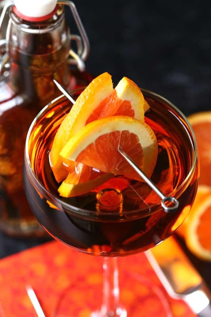 Amaretto Sidecar Cocktail showing orange slices for garnish