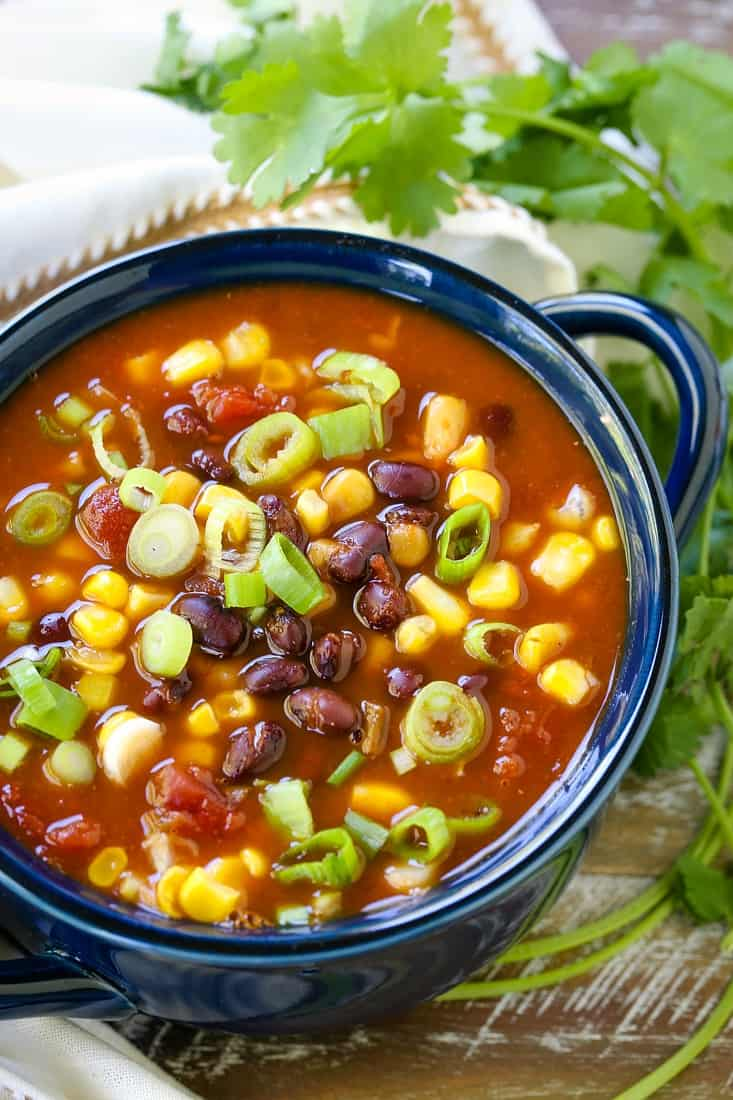 Black Bean and corn soup with chopped scallions on top