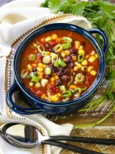 Black bean soup in a soup bowl with cilantro