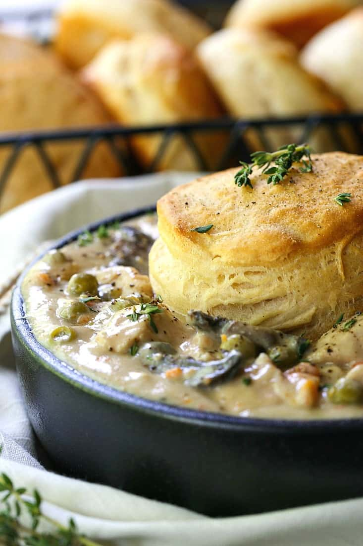 easy chicken pot pie recipe made in a slow cooker