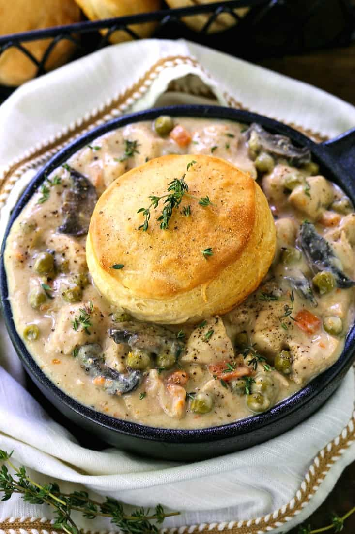 Crock Pot Chicken Pot Pie with a biscuit topper