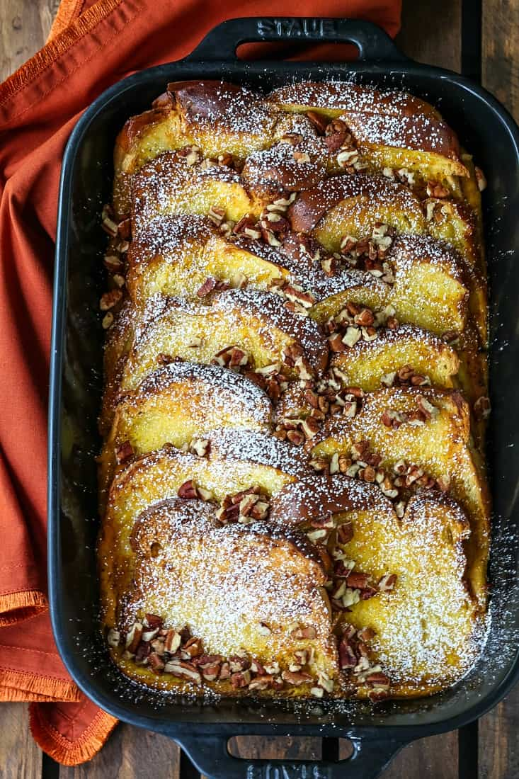 pumpkin french toast in a black baking dish