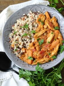 Pumpkin Chicken Stew with rice in grey bowl