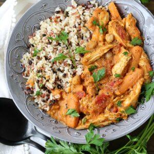 Pumpkin Chicken Stew with rice in grey bowl
