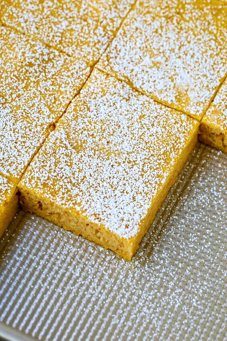 sheet pan pancakes sliced into squares
