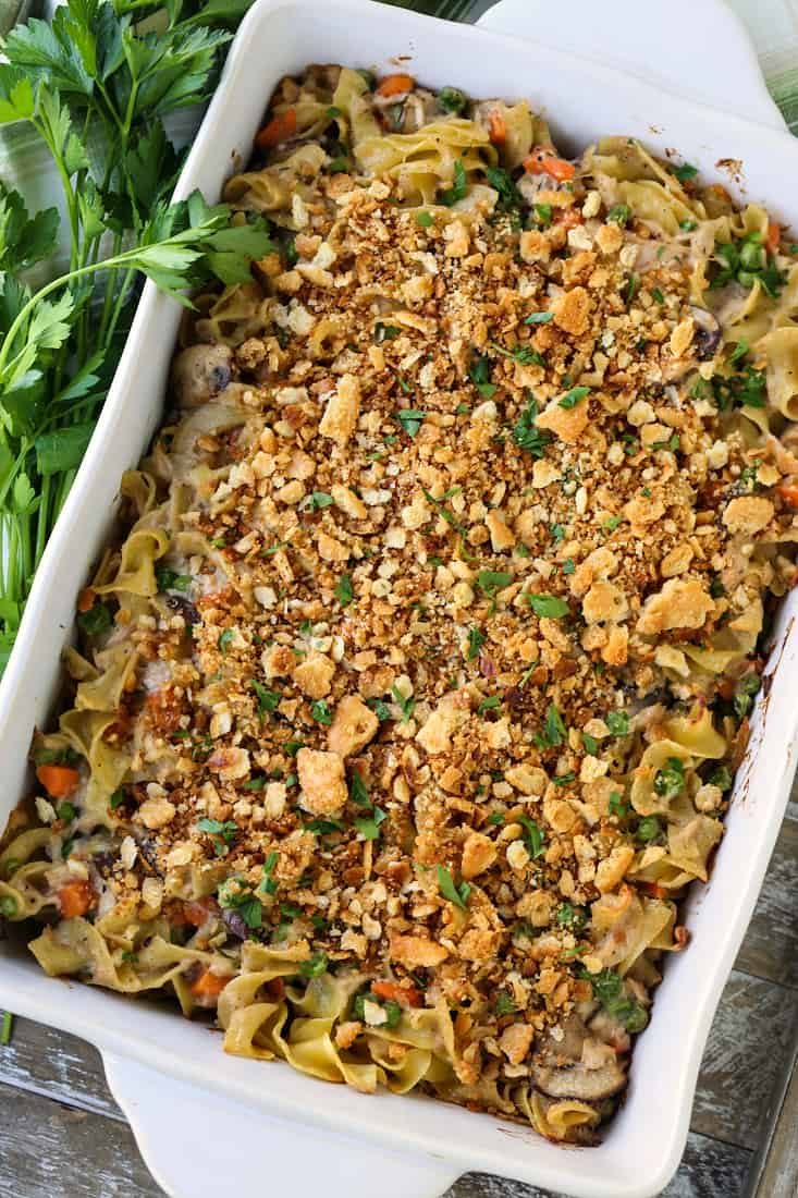 tuna noodle casserole with ritz cracker topping
