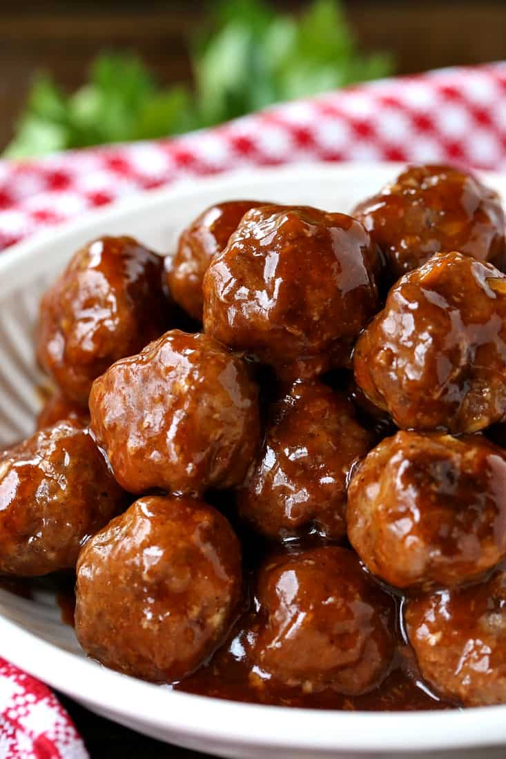 BBQ Party Meatballs in a white bowl