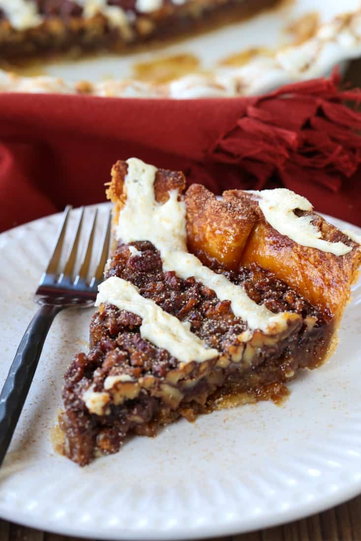 Cinnamon Roll Pie slice on a plate with fork
