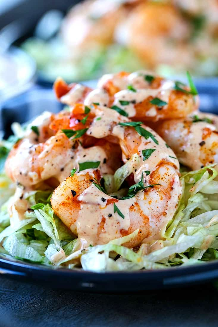 Roasted Shrimp with creamy sauce drizzled on top