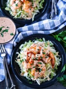 Shrimp remoulade recipe on a bed of lettuce