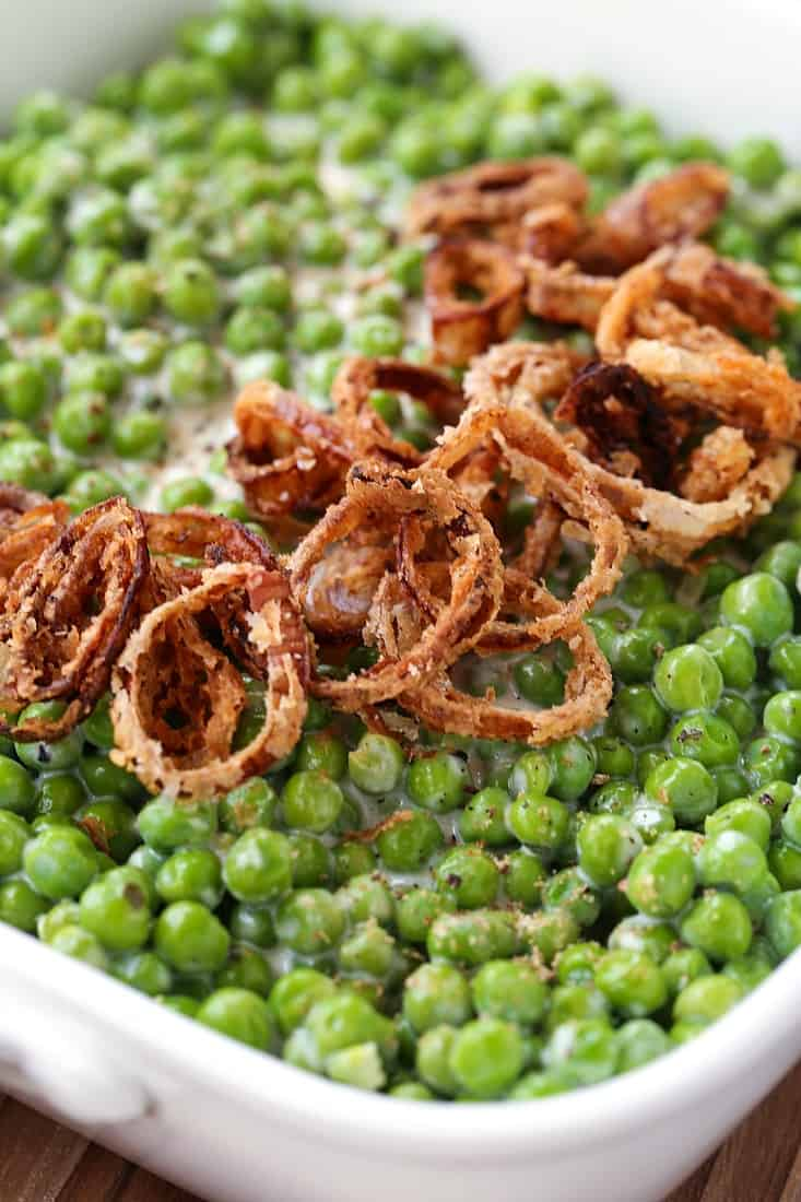 creamed peas with homemade fried shallots for garnish
