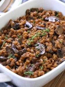 Mushroom farro recipe with fresh thyme