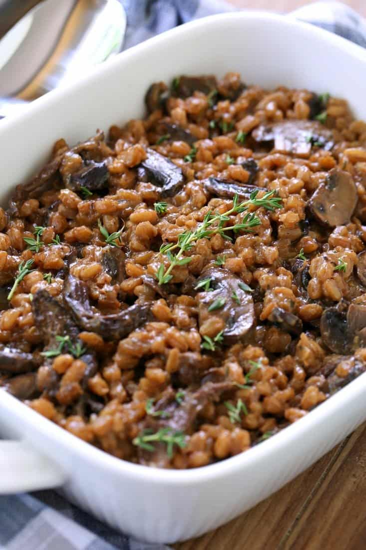 Mushroom farro recipe with fresh thyme
