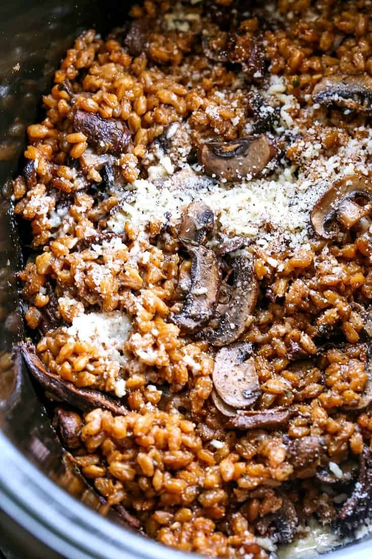 Mushroom farro made in a slow cooker with parmesan cheese
