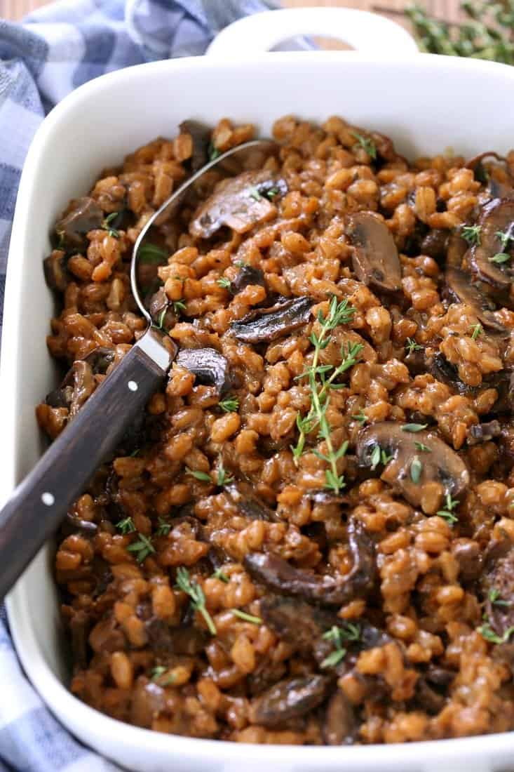 Mushroom farro recipe for a holiday side dish or every day meals