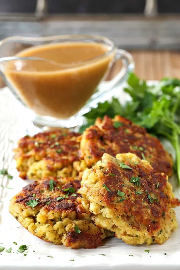 Stuffing cakes on a platter made from leftover stuffing
