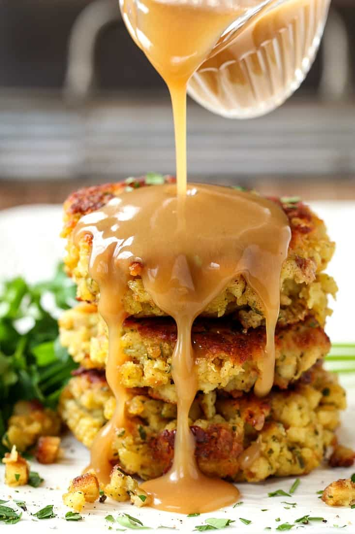Use leftover stuffing to make crispy, buttery stuffing cakes
