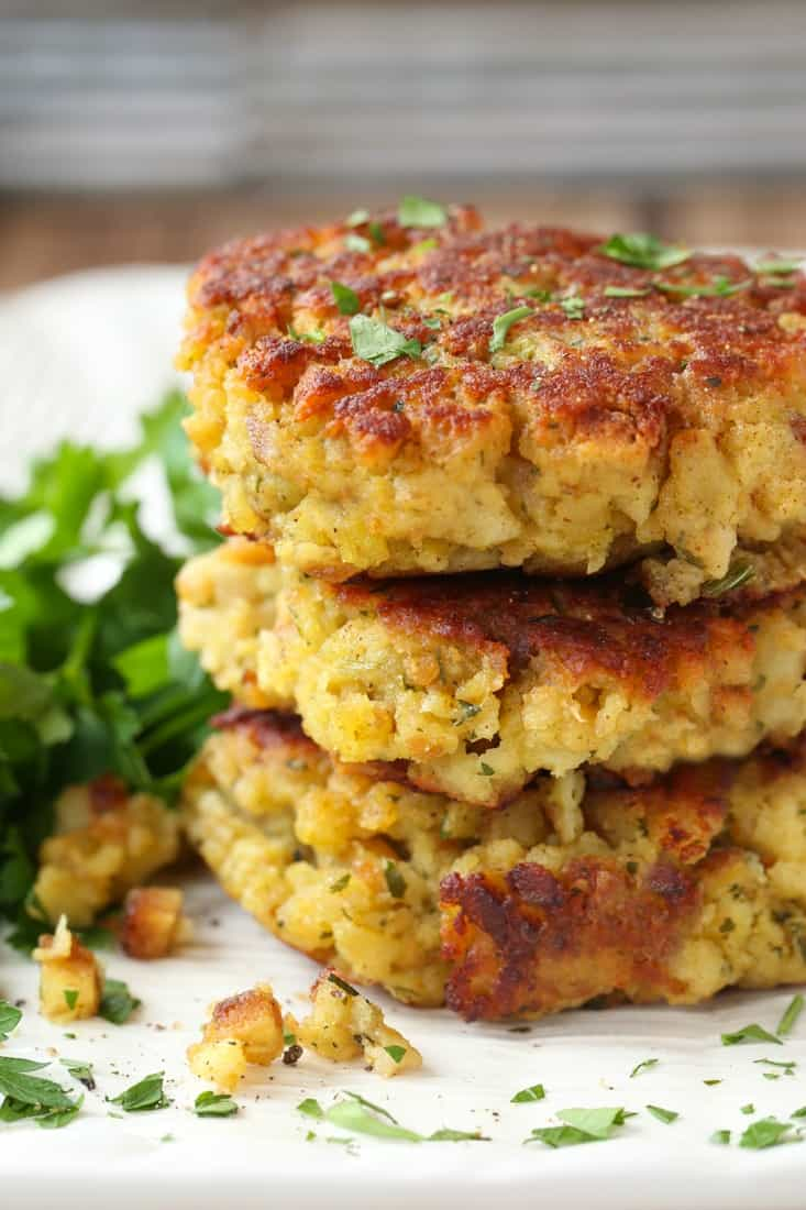 Use leftover stuffing from Thanksgiving to make these stuffing cakes
