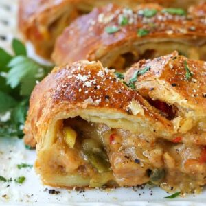 Sausage and peppers strudel is a holiday appetizer recipe