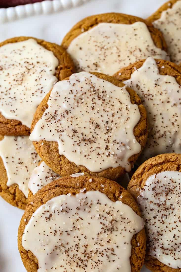 Bourbon Iced Molasses Cookies with bourbon infused glaze