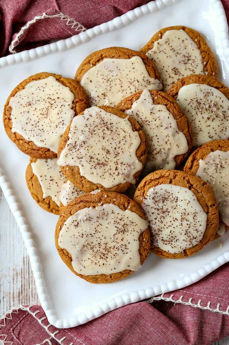 Iced Molasses Cookies with bourbon frosting