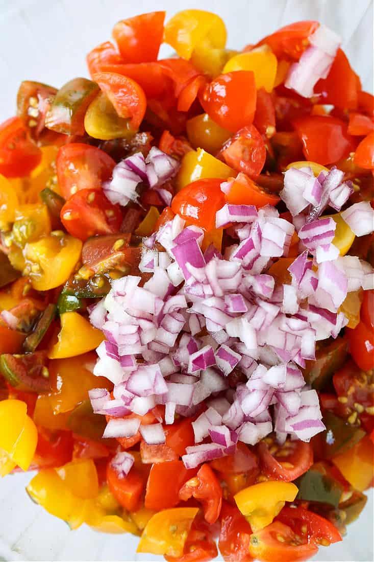 Tomato Bruschetta topping in a bowl