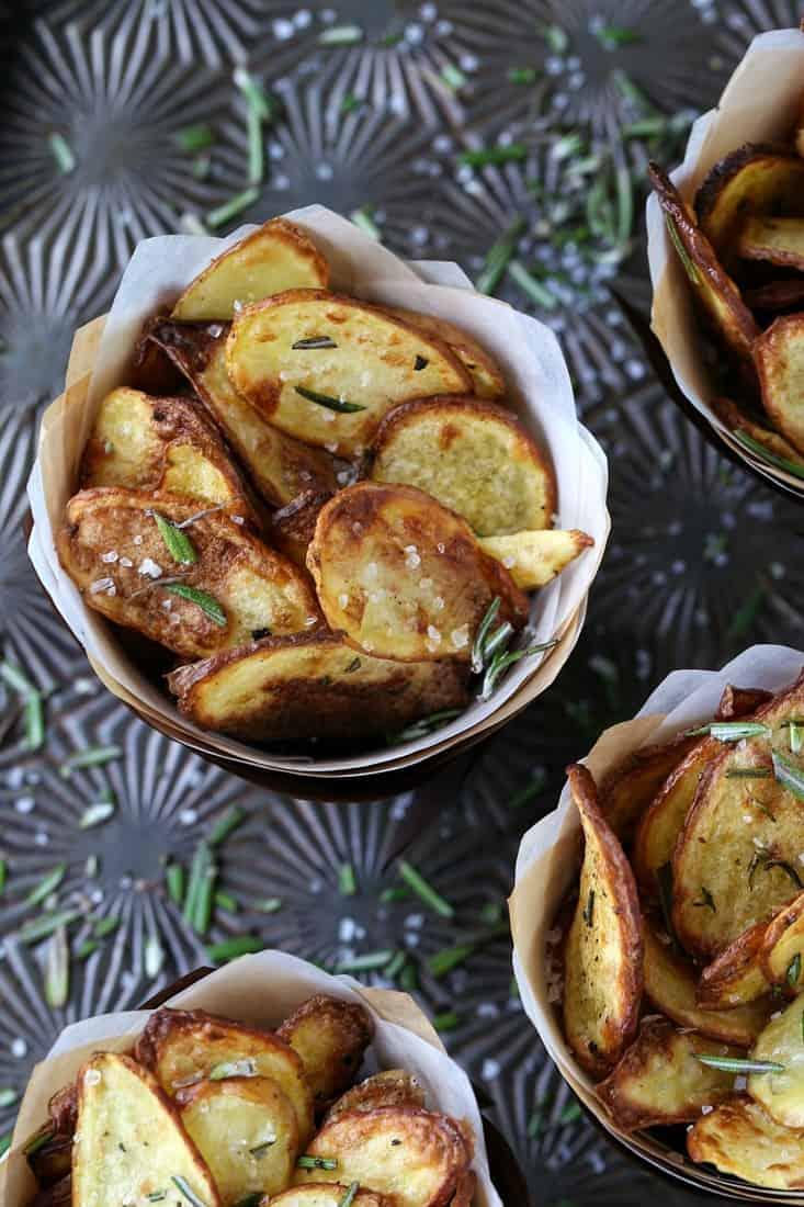 Crispy Fingerling Potatoes with fresh rosemary