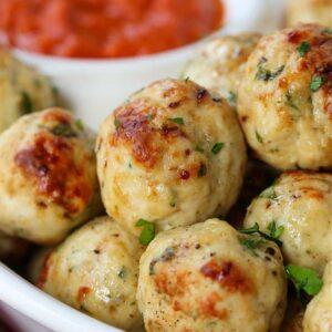 Baked Chicken Meatballs served with marinara sauce