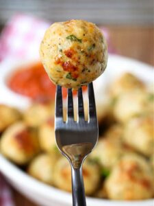chicken meatball on a fork