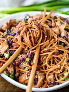 Chicken Teriyaki Noodles with chop sticks