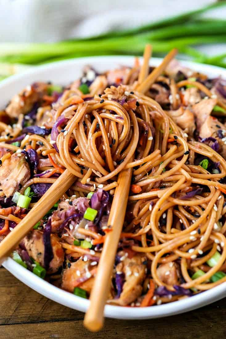 Chicken Teriyaki Noodles with chop sticks