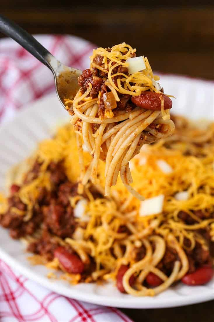 Cincinnati Chili recipe on a fork