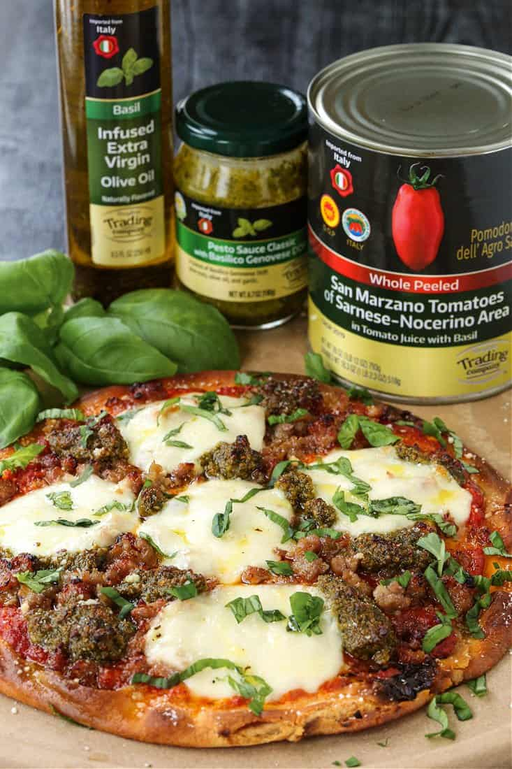 Sausage Pesto Pizza with ingredients