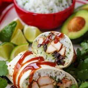 chicken burrito with teriyaki glaze on a plate
