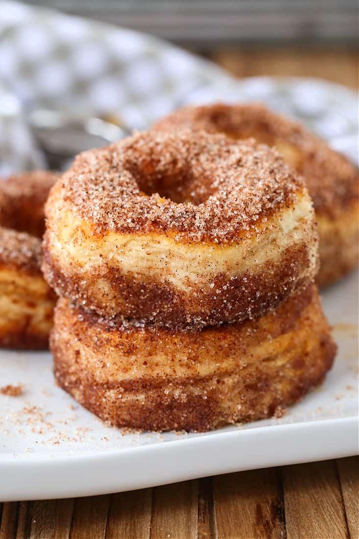 Cinnamon Sugar air fryer donuts on plate