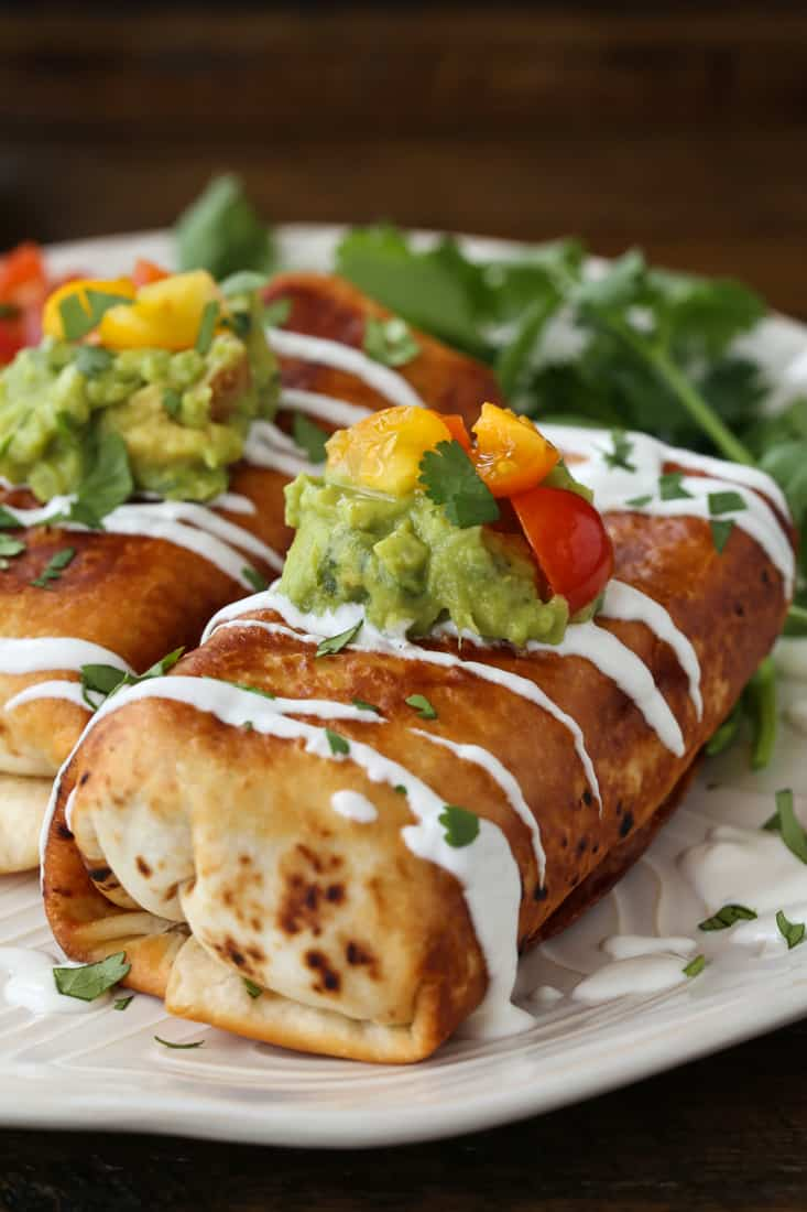 Chicken Chimichangas are a lightly fried burrito with chicken and cheese filling