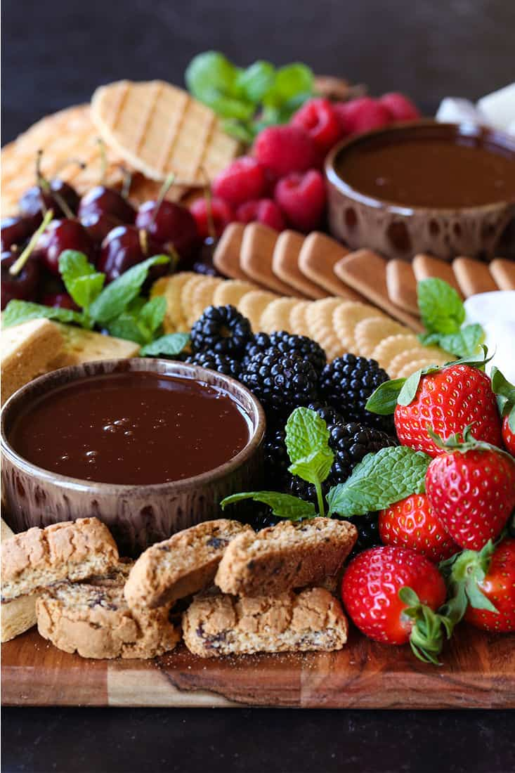 Dessert charcuterie board with dipping chocolate