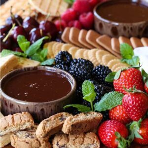 Dessert charcuterie board with chocolate fondue