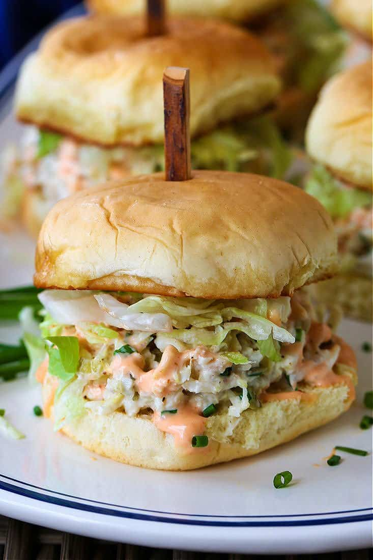 Crab Sliders with lettuce and sriracha mayonnaise
