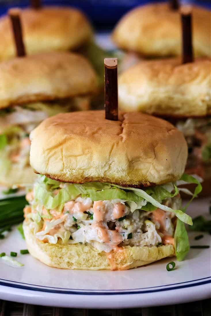 Slider recipe with crab salad and lettuce