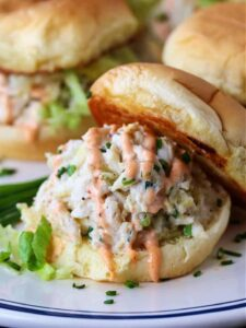 Crab Salad Sliders with sriracha mayonnaise