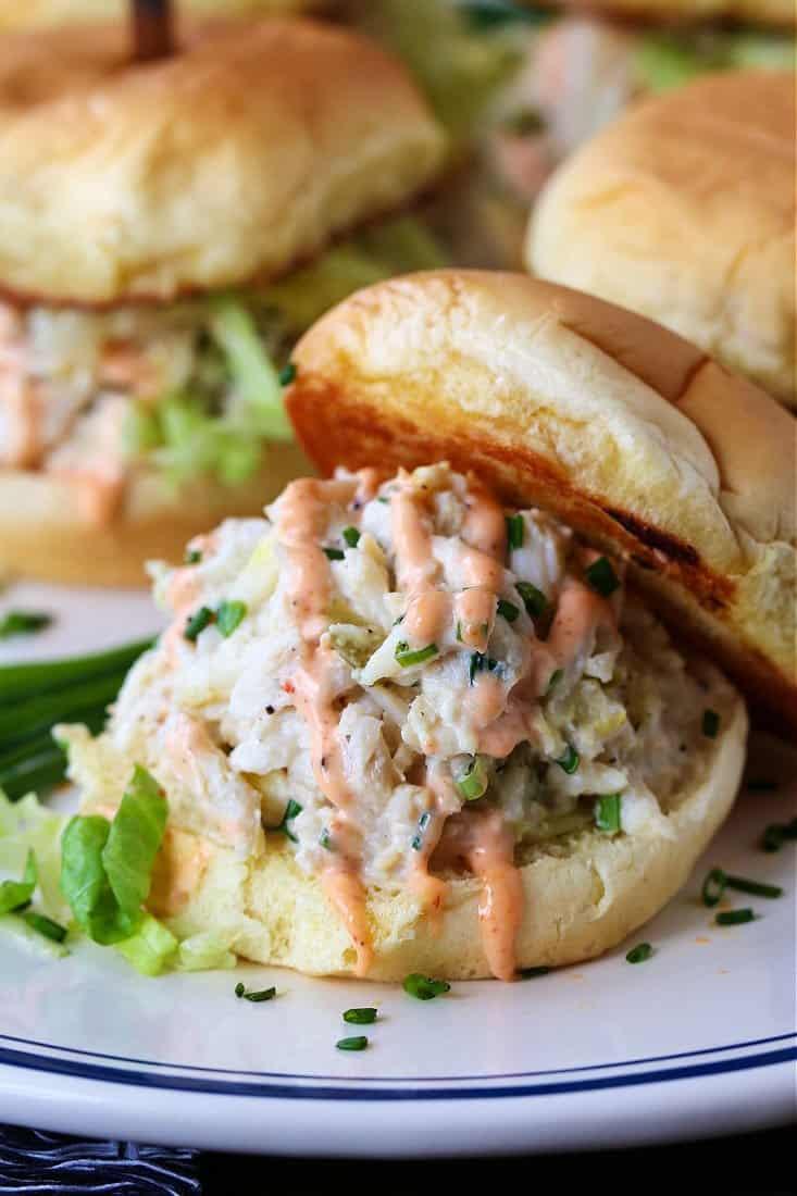 Crab Salad Sliders with sriracha mayonnaise